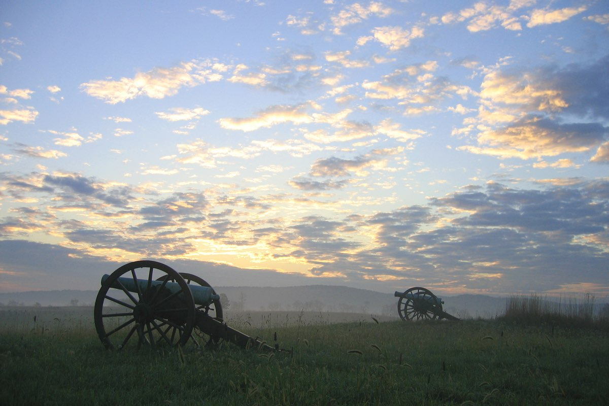 Artillery at Sunrise in Antietam National Battlefield.