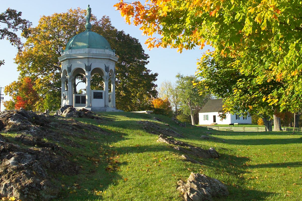 Maryland Monument and Dunker Church along the Antietam Remembered Loop Trail.