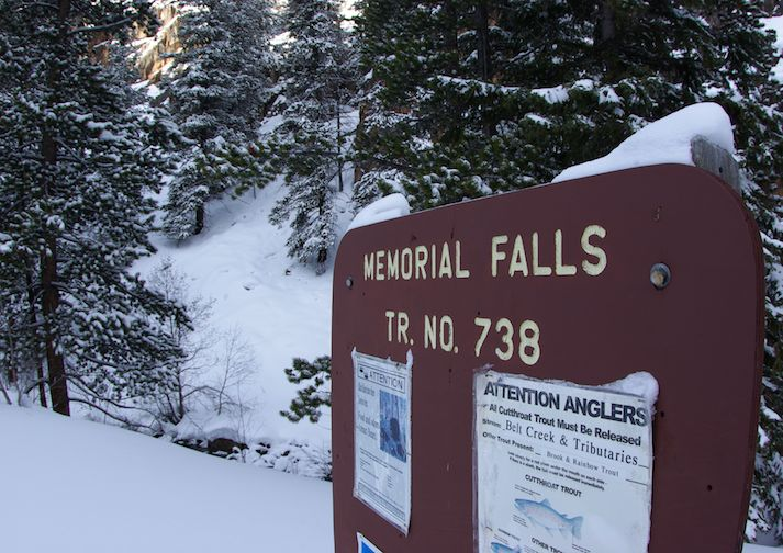 Sign leading to Memorial Falls near Great Falls Montana