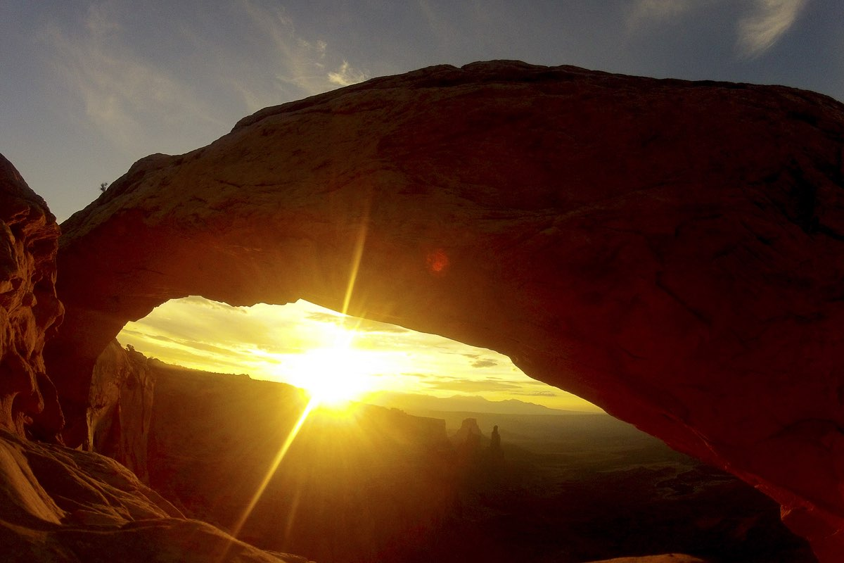 Sunrise at Mesa Arch in Canyonlands National Park.