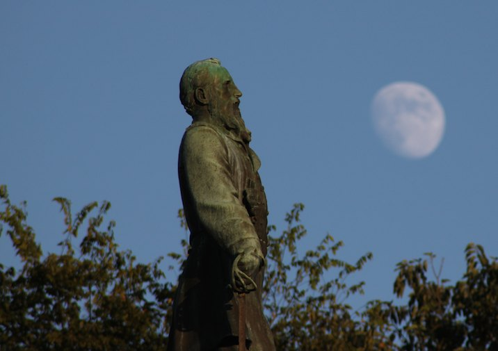 Monument and the moon at Vicksburg.