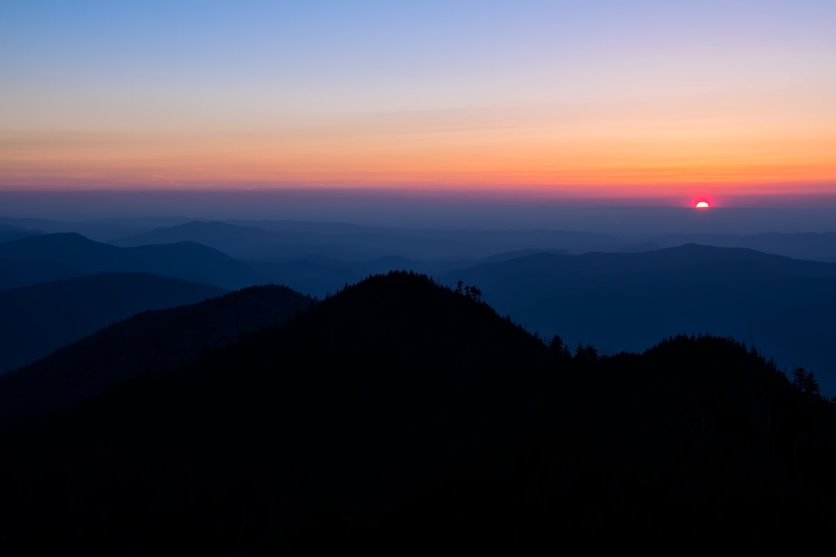 Sunset from Mount LeConte in Great Smoky Mountains National Park.