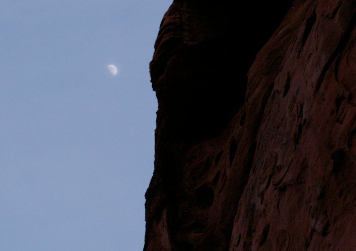 Moon rising above Mouse's Trap Trail in Valley of Fire State Park near Las Vegas, Nevada.