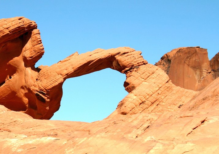 Natural Arches Trail in Valley of Fire State Park near Las Vegas, Nevada.