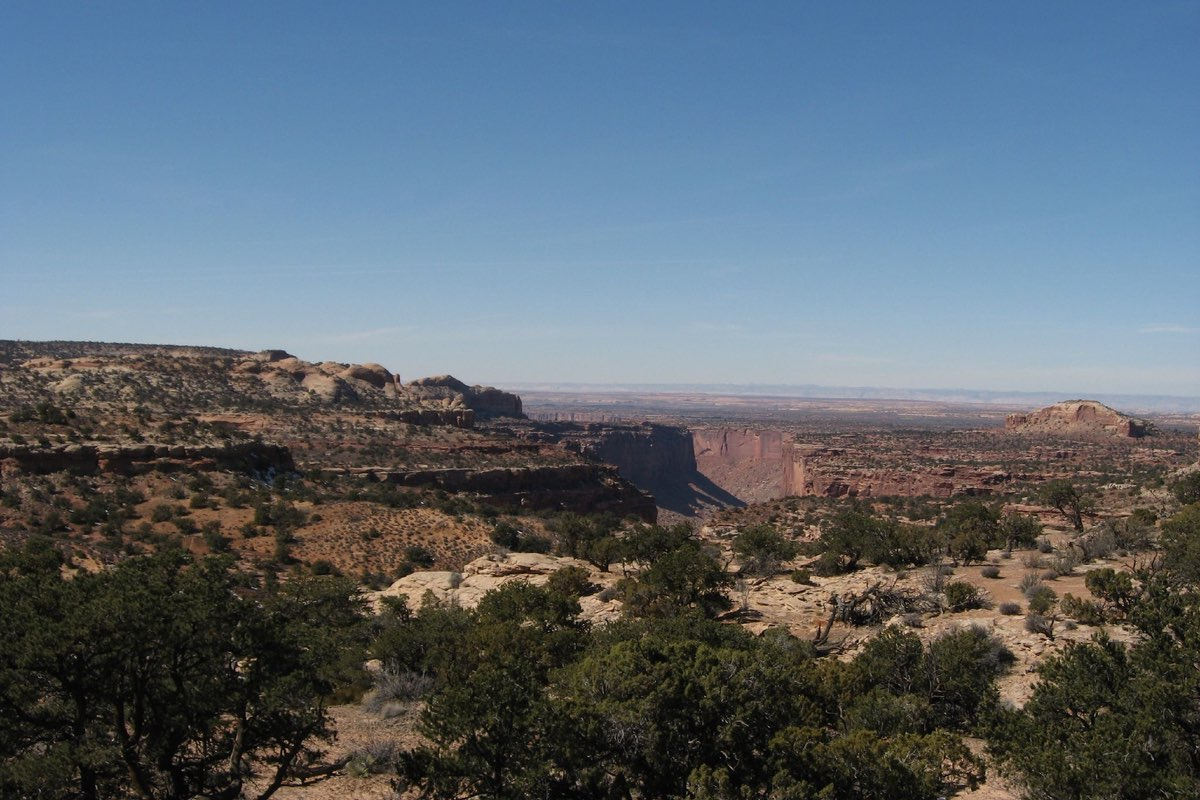 Hiking the Neck Springs Trail in Canyonlands National Park.