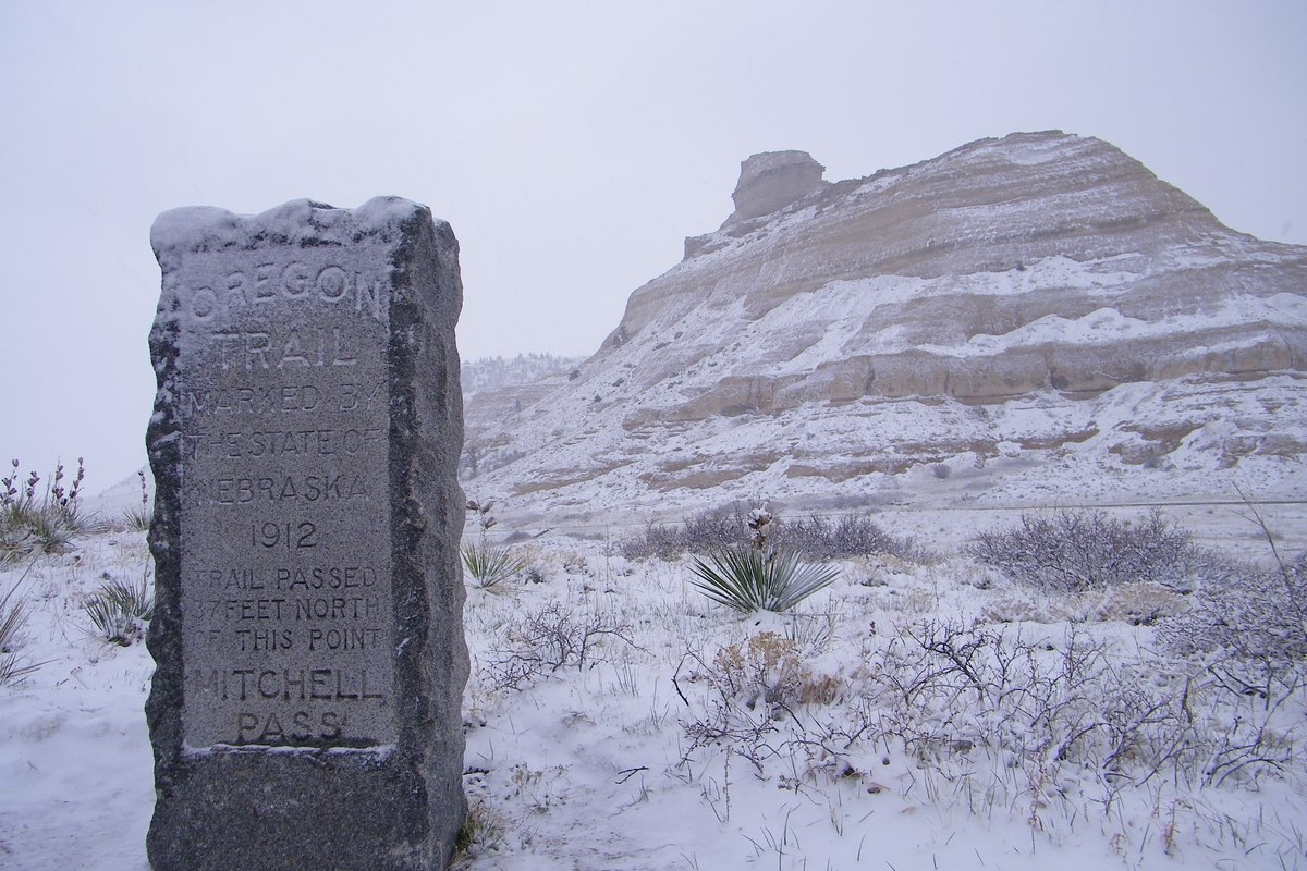 Oregon Trail marker in Scotts Bluff National Monument Nebraska.
