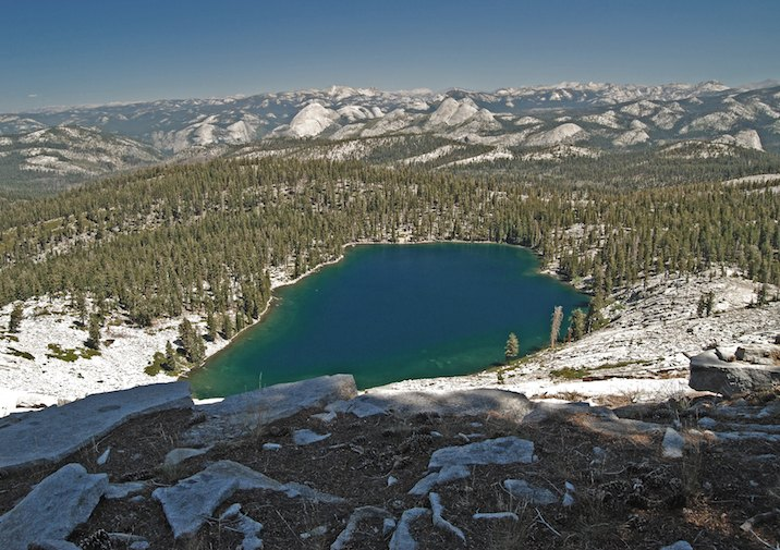 Looking down on Ostrander Lake in Yosemite National Park.