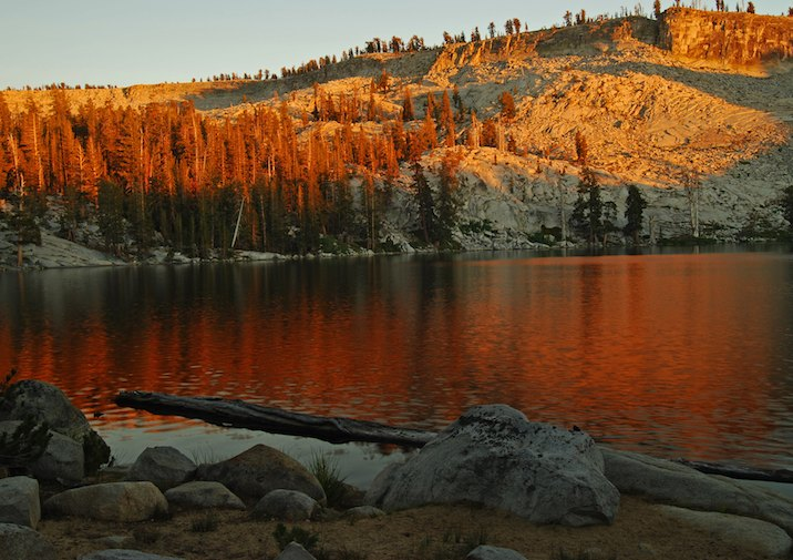 Sunset at Ostrander Lake in Yosemite National Park.