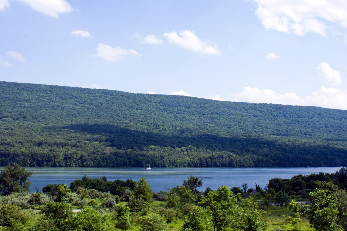 Brush Mountain and lake in Bald Eagle State Park near State College Pennsylvania.