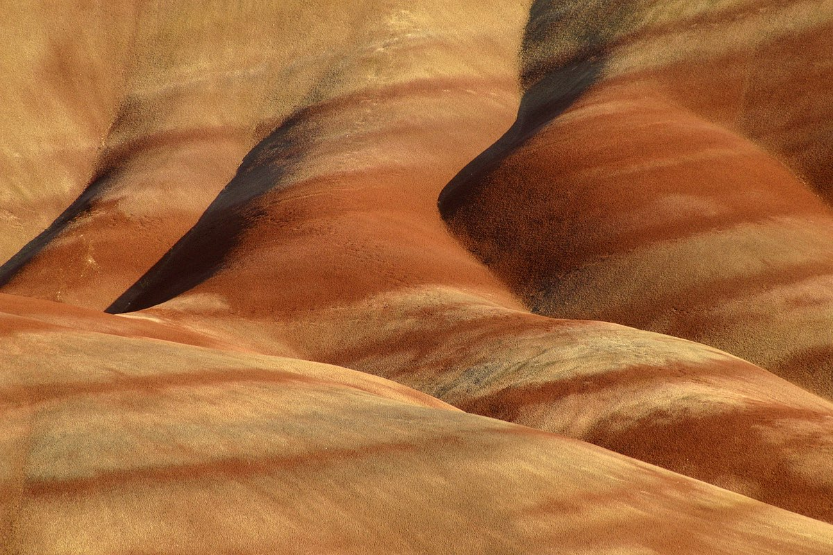 Close up of the Painted Hills in John Day Fossil Bed National Monument.