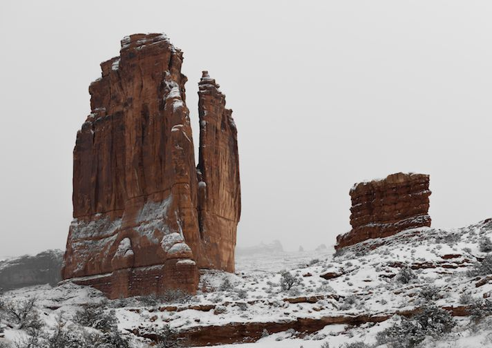 Park Avenue in Arches National Park on a blistery winter day.