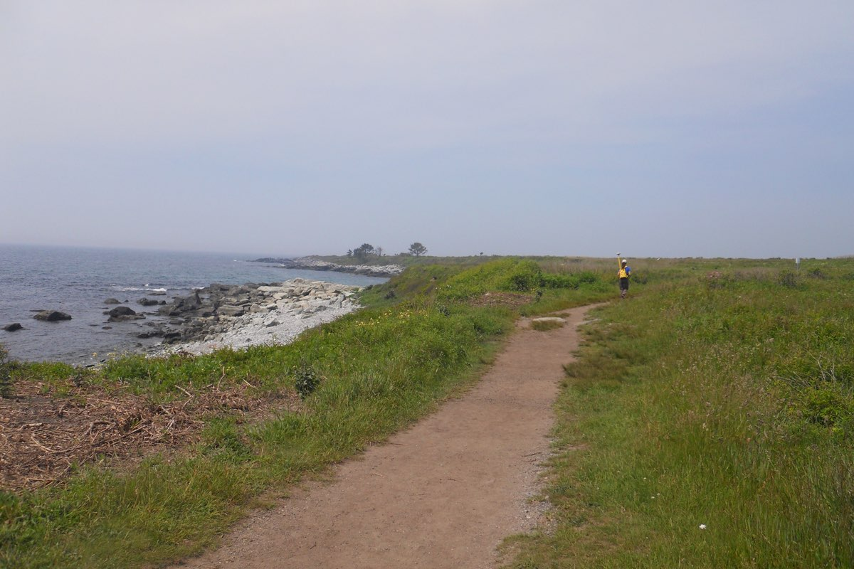 Hiking along the Ocean View Loop in Sachuest Point National Wildlife Refuge in Rhode Island.