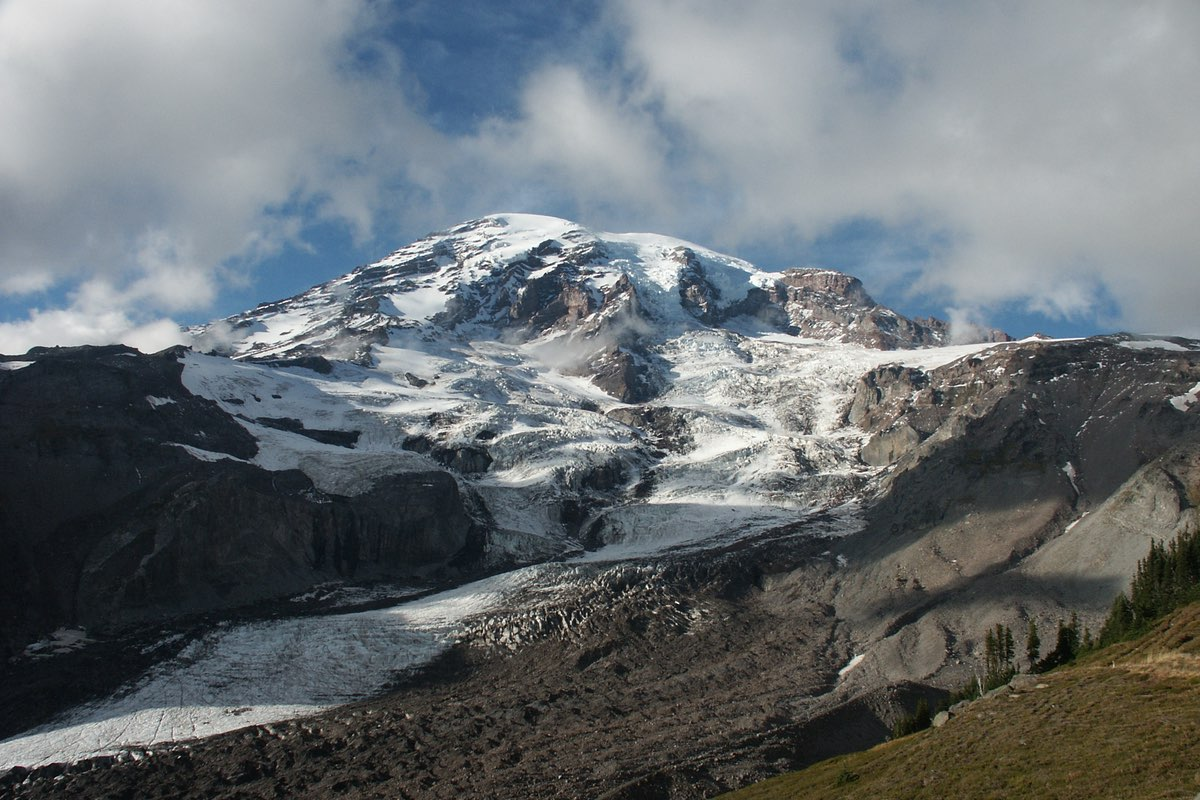 Mount Rainier and the Nisqually Glacier from the Skyline Trail in Mount Rainier National Park.