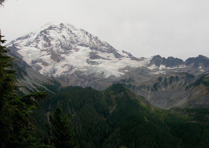 Mount Rainier from the Spray Park Trail in Mount Rainier National Park.