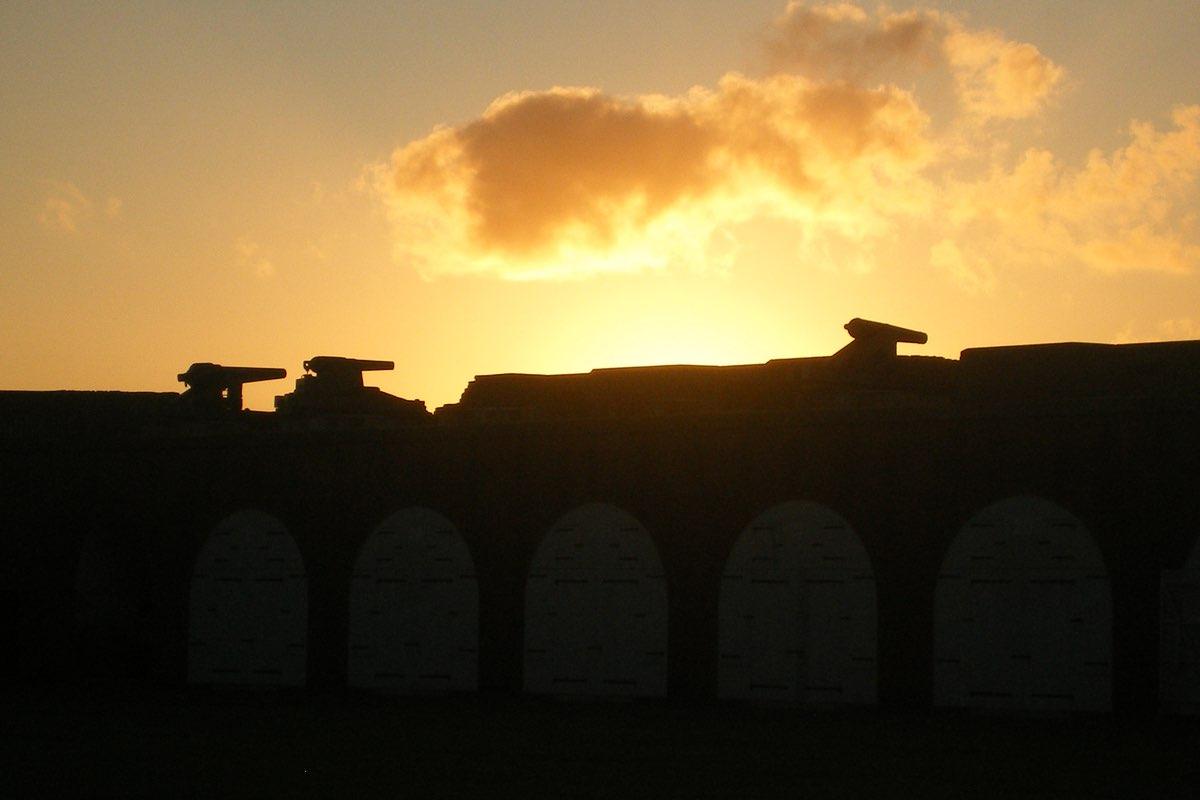 Sunrise in Fort Pulaski National Monument.