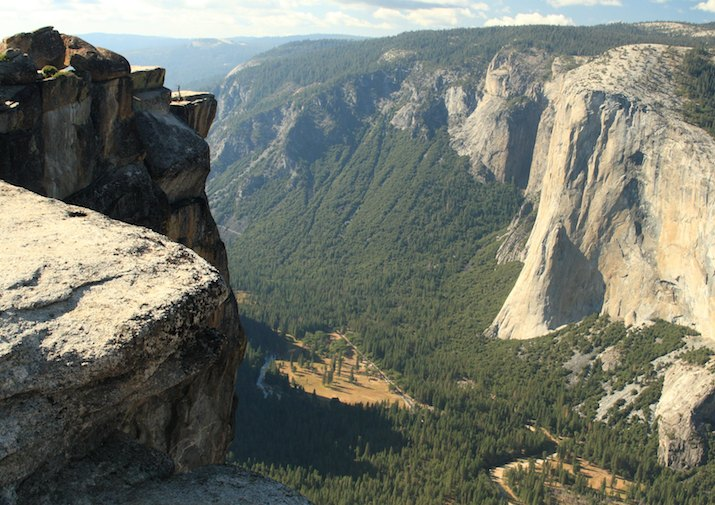 Breathtaking view from Taft Point in Yosemite National Park.