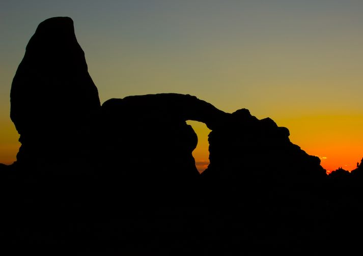 Sunset at The Windows in Arches National Park.