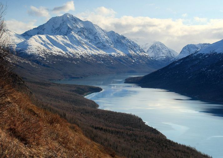View of beautiful Eklutna Lake while hiking Twin Peaks Trail near Anchorage, AK.