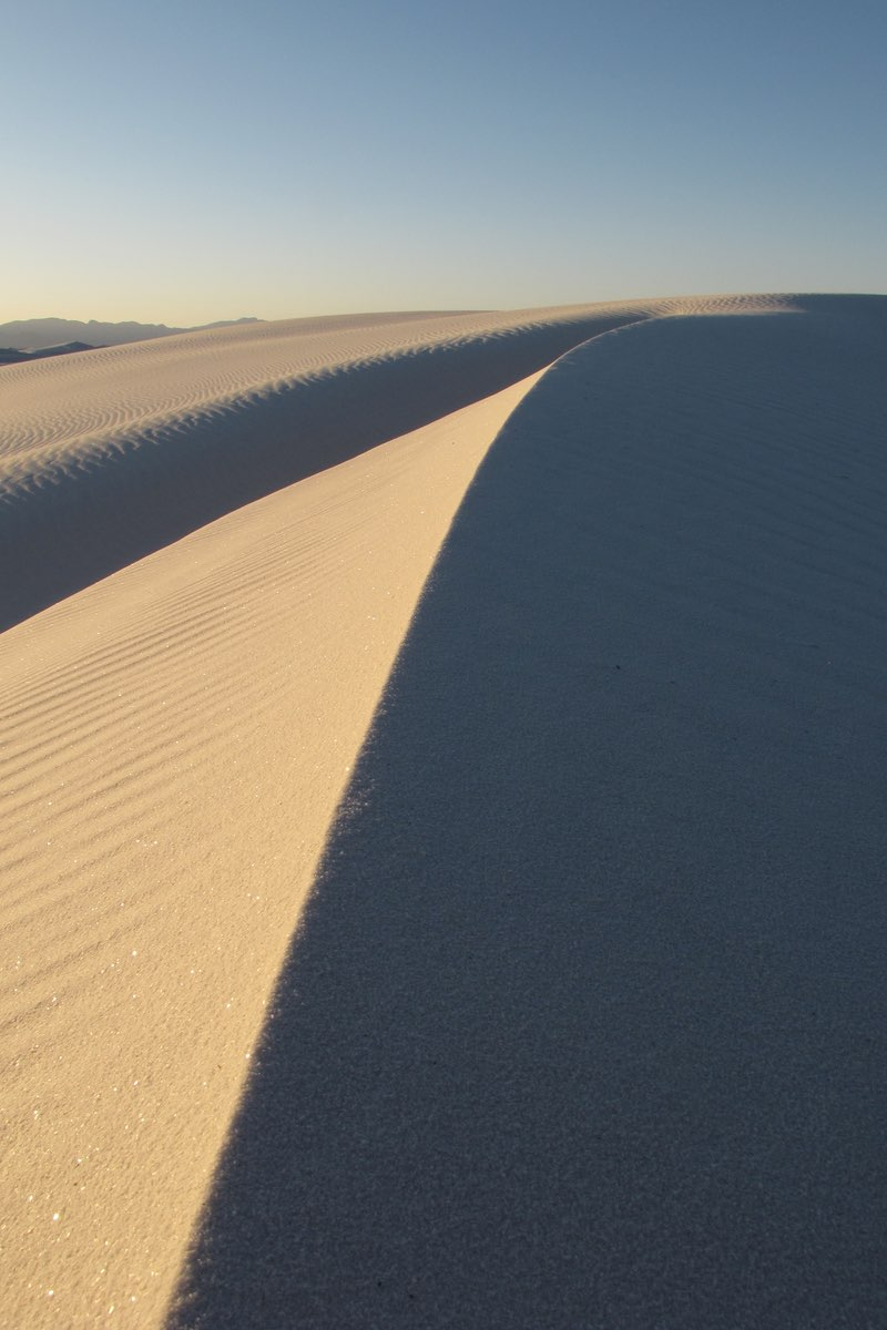 Shadows on the dunes in White Sands National Monument.