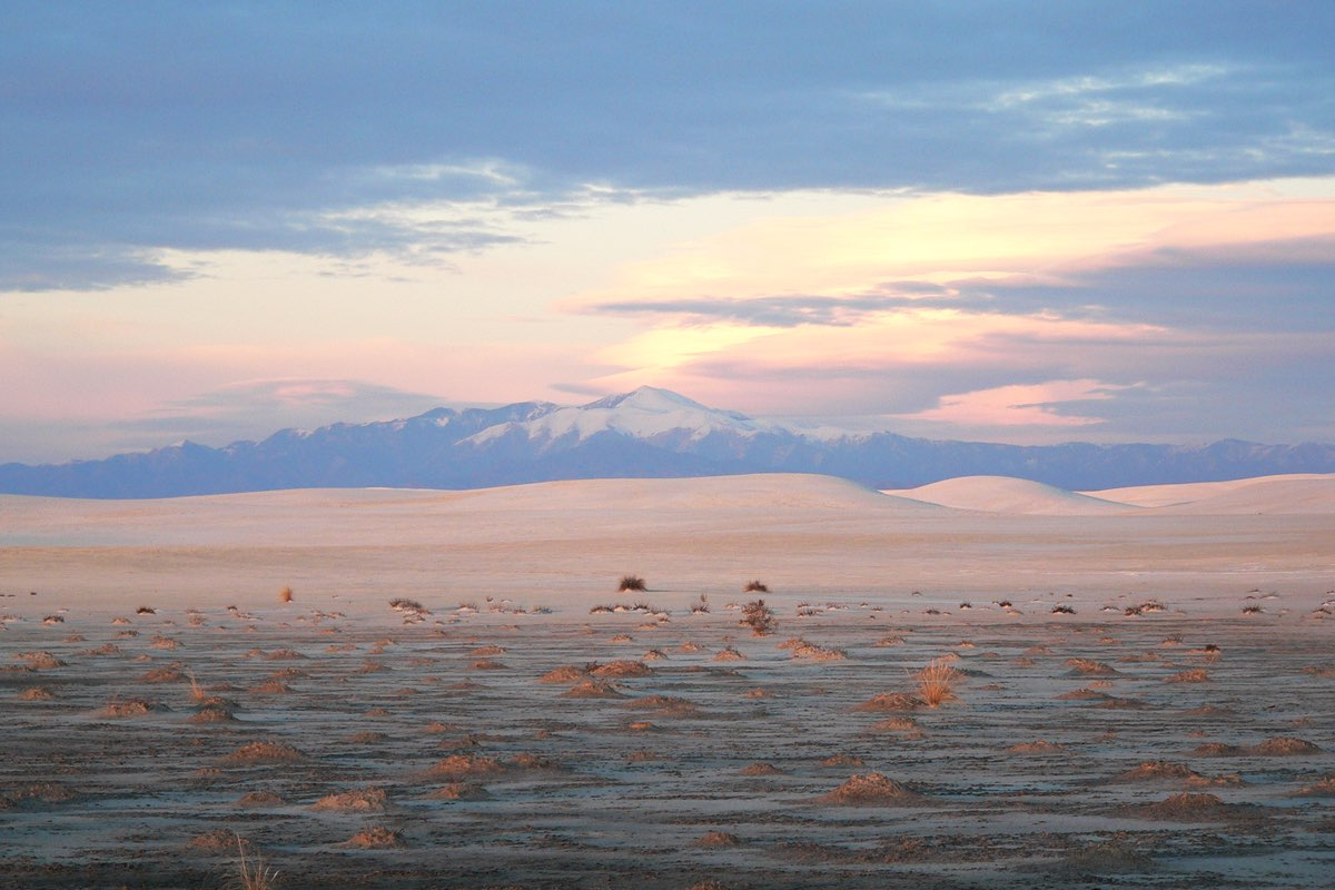 Sunset in White Sands National Monument.