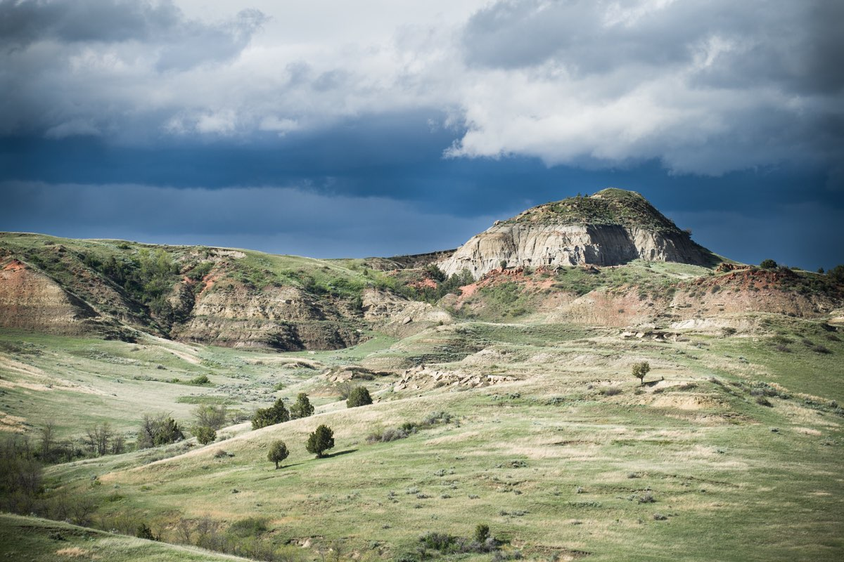 Hiking along the Wind Canyon Trail in Theodore Roosevelt National Park.