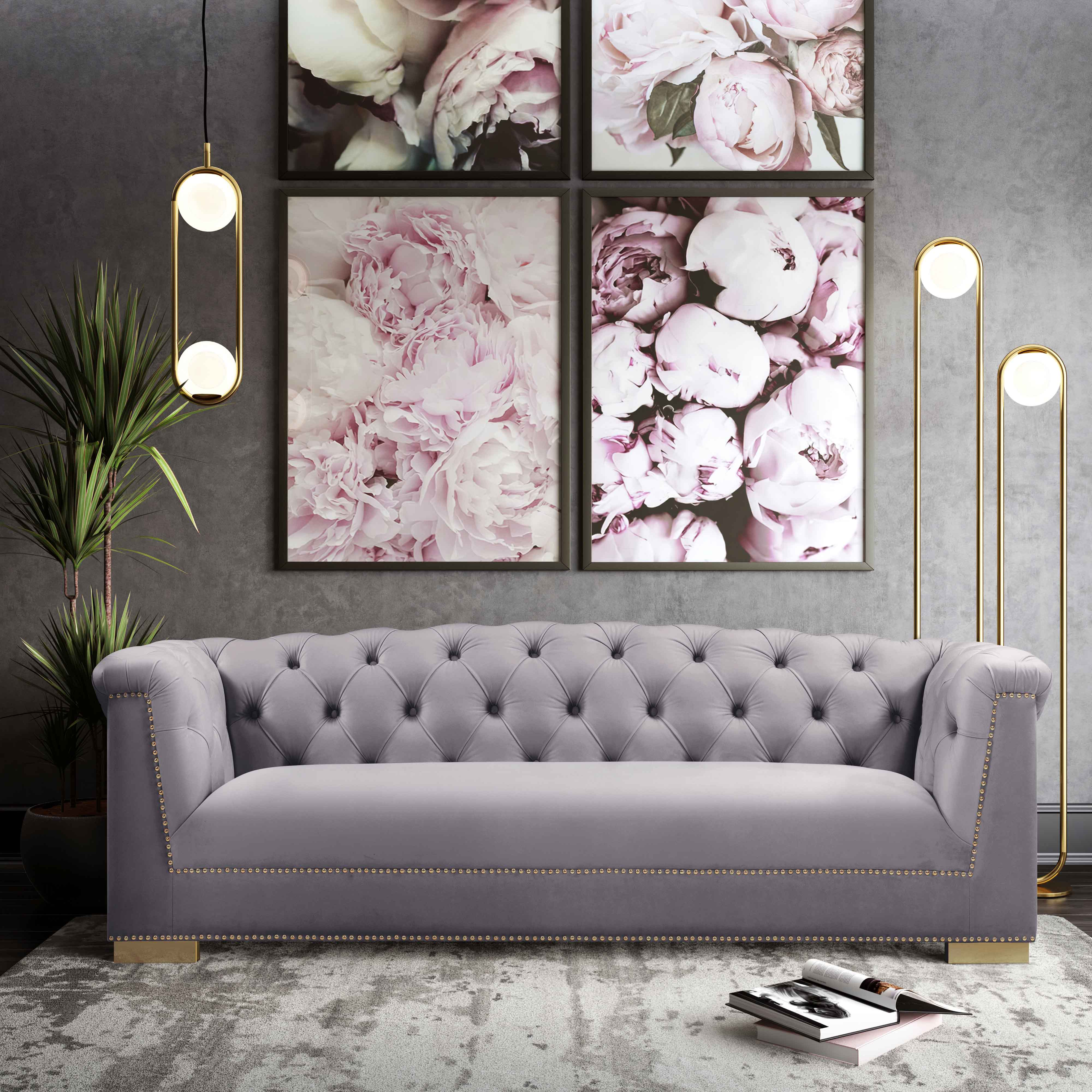 Farah Grey Velvet Sofa By Inspire Me Home Decor Tov Furniture