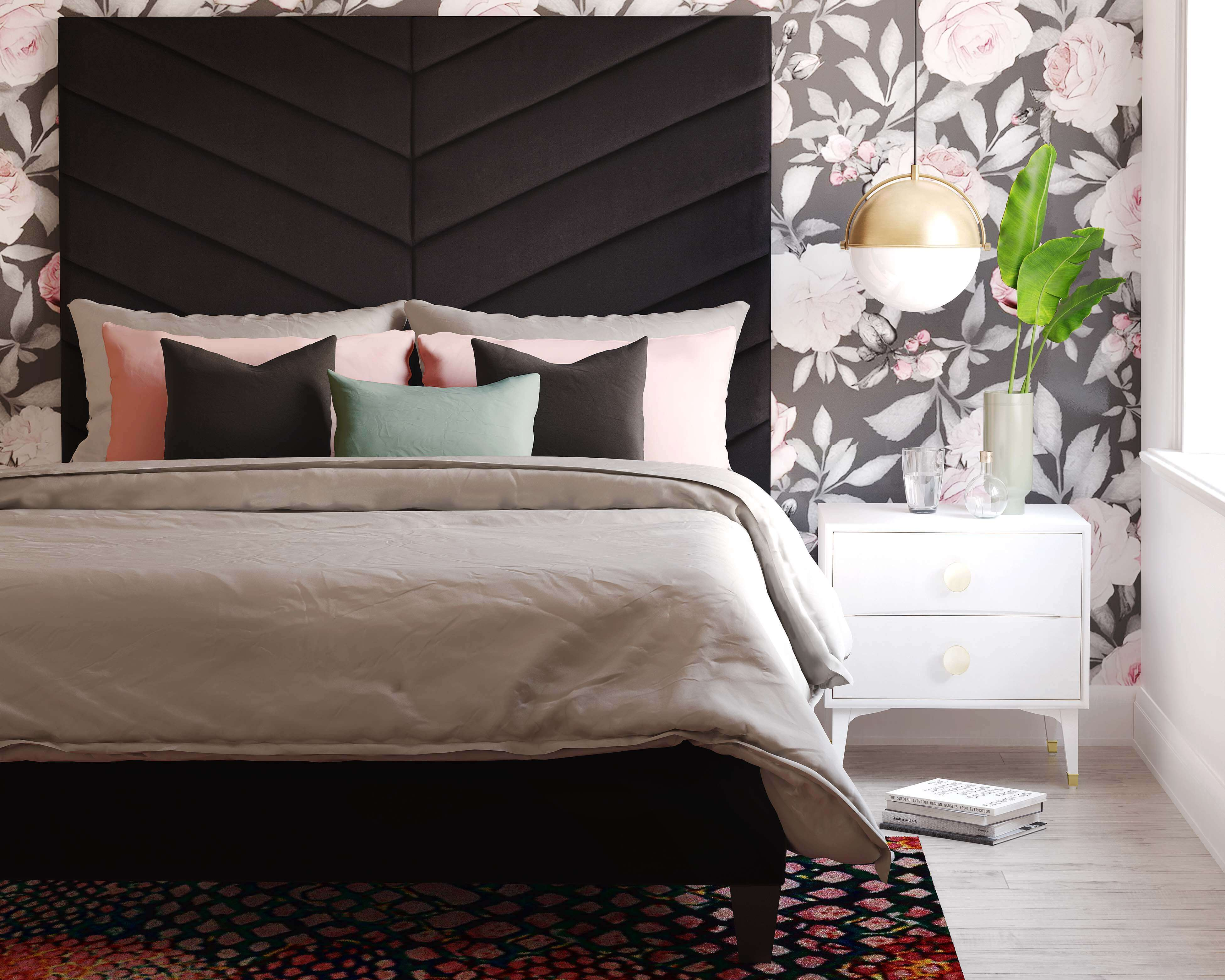 Javan Black Velvet Bed In King Tov Furniture