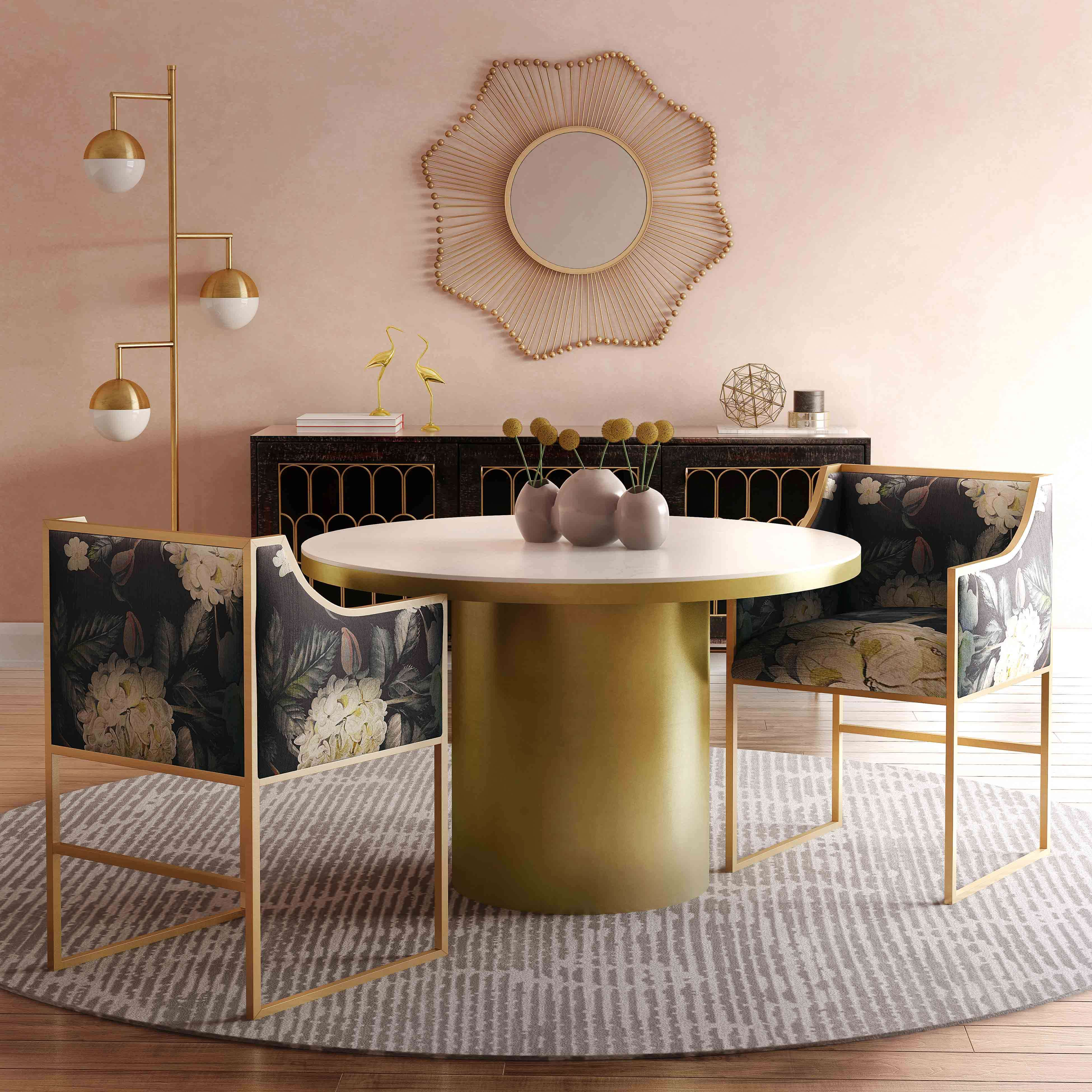 Atara Floral Velvet Gold Chair Tov Furniture