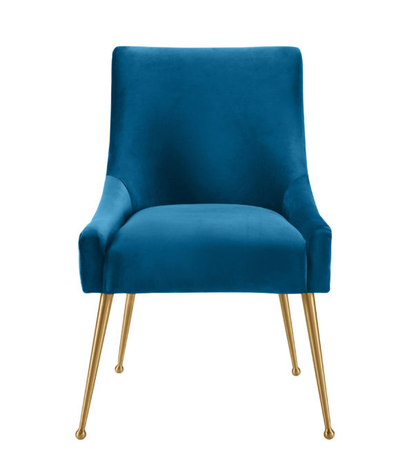 Beatrix Pleated Navy Velvet Side Chair