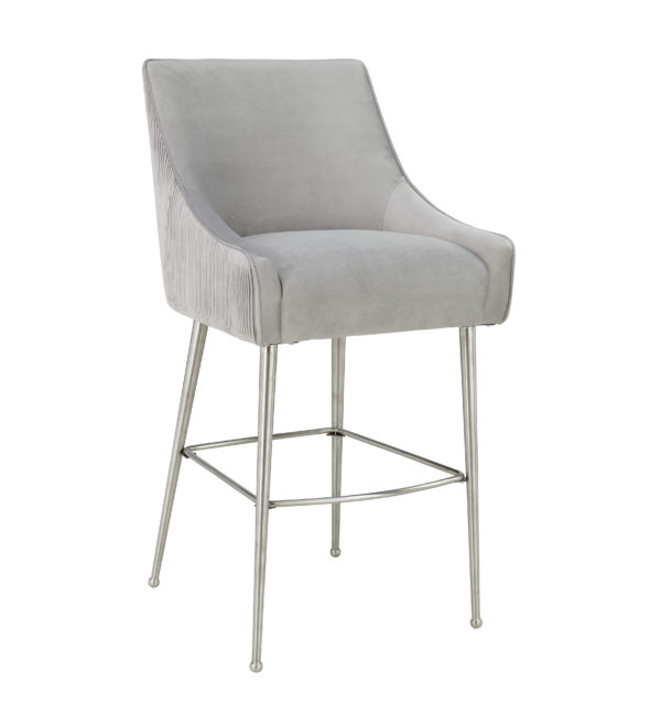 Beatrix Pleated Light Grey Velvet Bar Stool