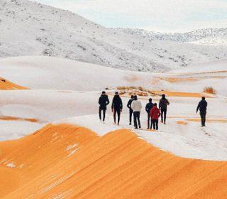 Las dunas se tiñen de blanco