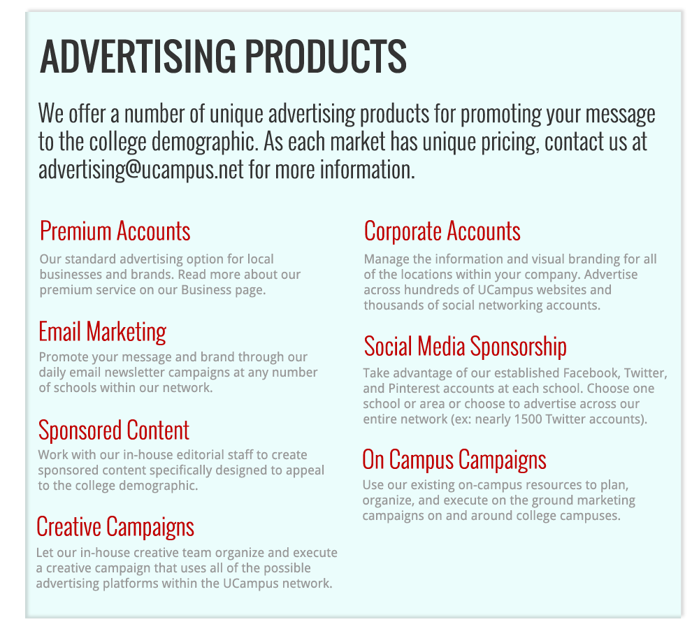 UCampus Advertising Products
