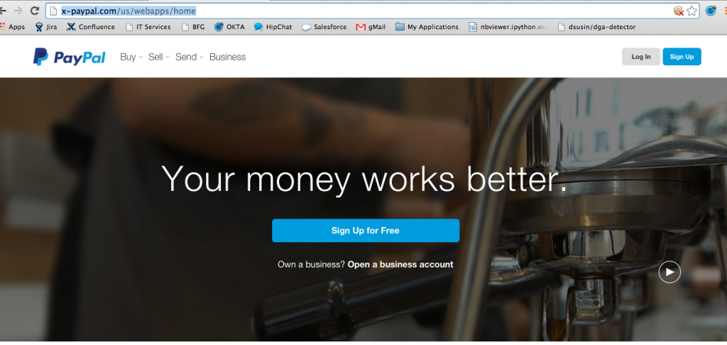 Example of a fake PayPal site.