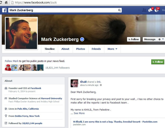 Zuckerberg's Hacked Profile