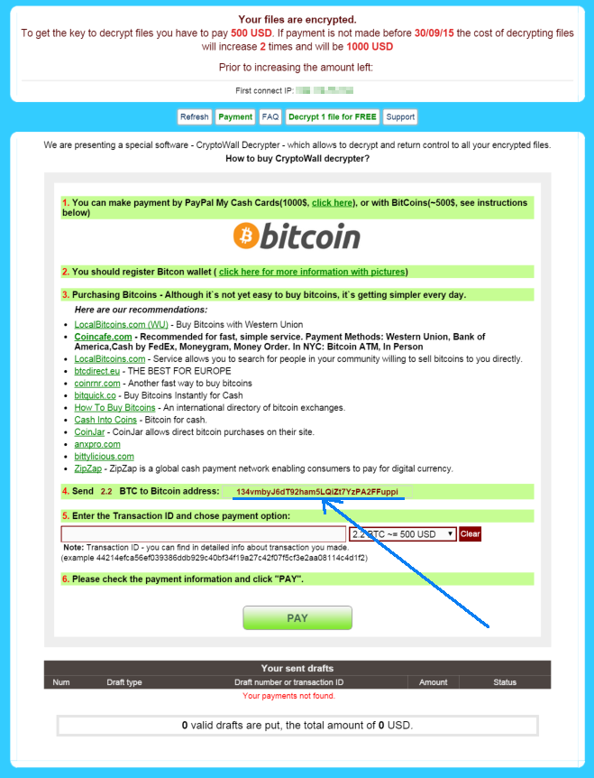 TeslaCrypt payment page showing Bitcoin payment address