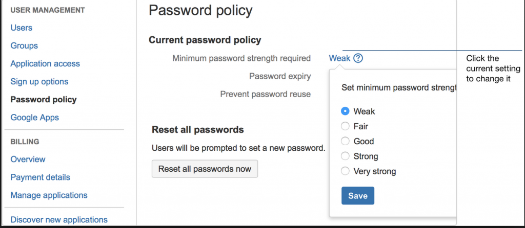 Example of easy password policy settings from Atlassian