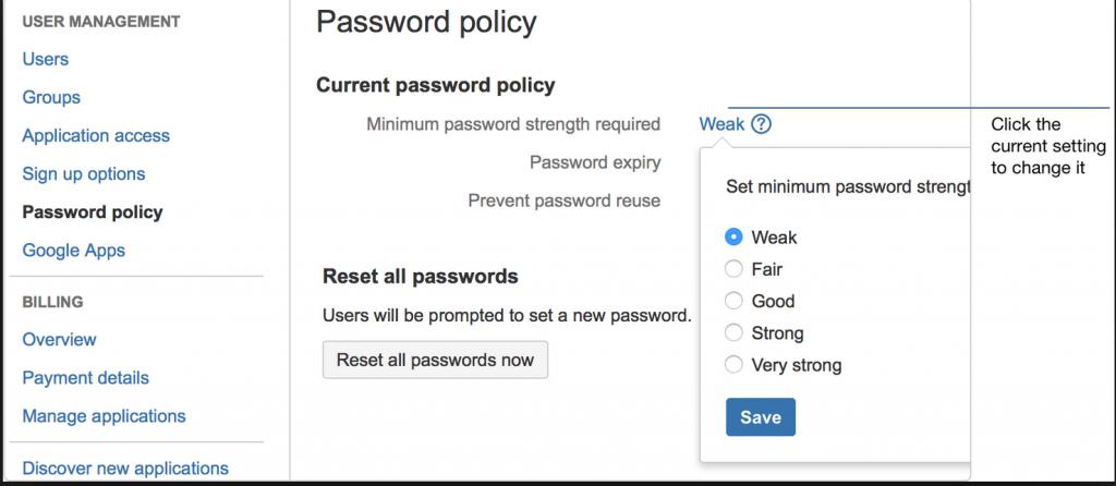 Password policy example