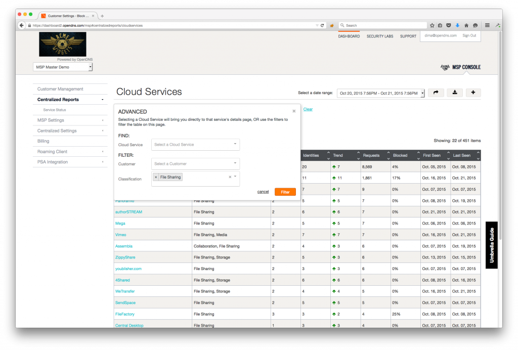 A view of the Cloud Services Report in the MSP console.