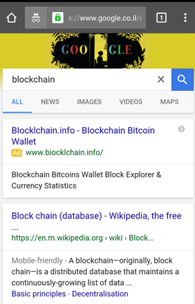 Ad for blockchain