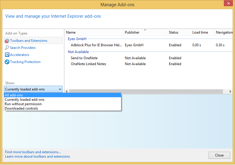 Show All Add-ons in IE11