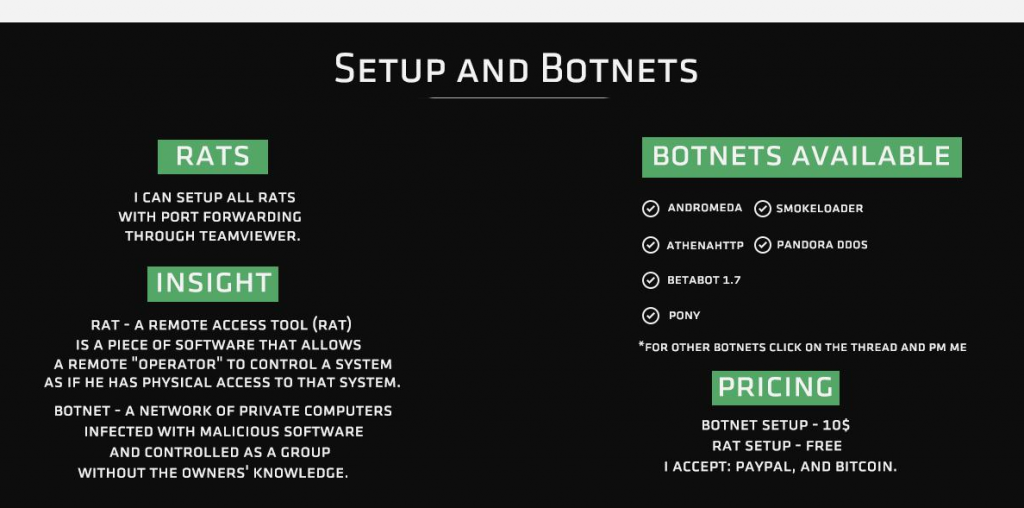 Advertisement for RAT and Botnet Setup Services