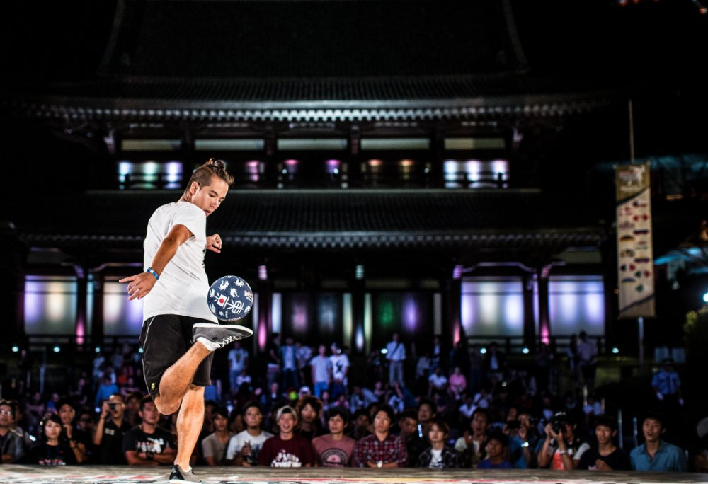 Competing in the 2013 Red Bull Street Style World Finals.