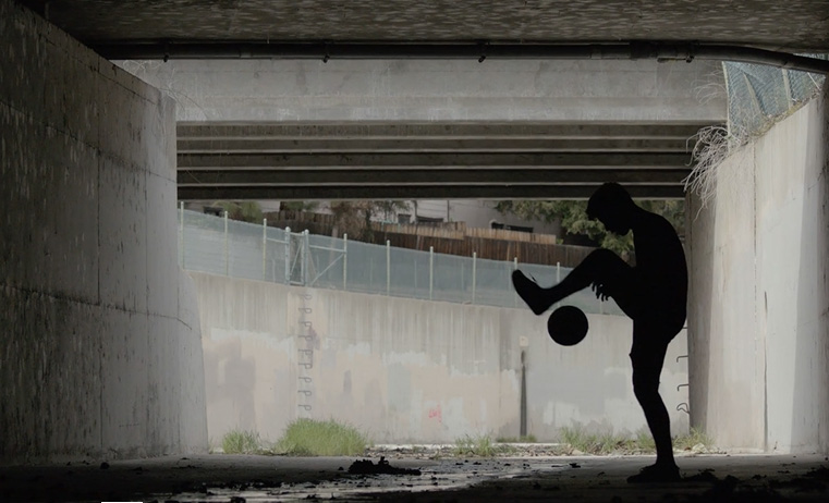 """A scene from """"Push,"""" a short film featuring Lobo."""