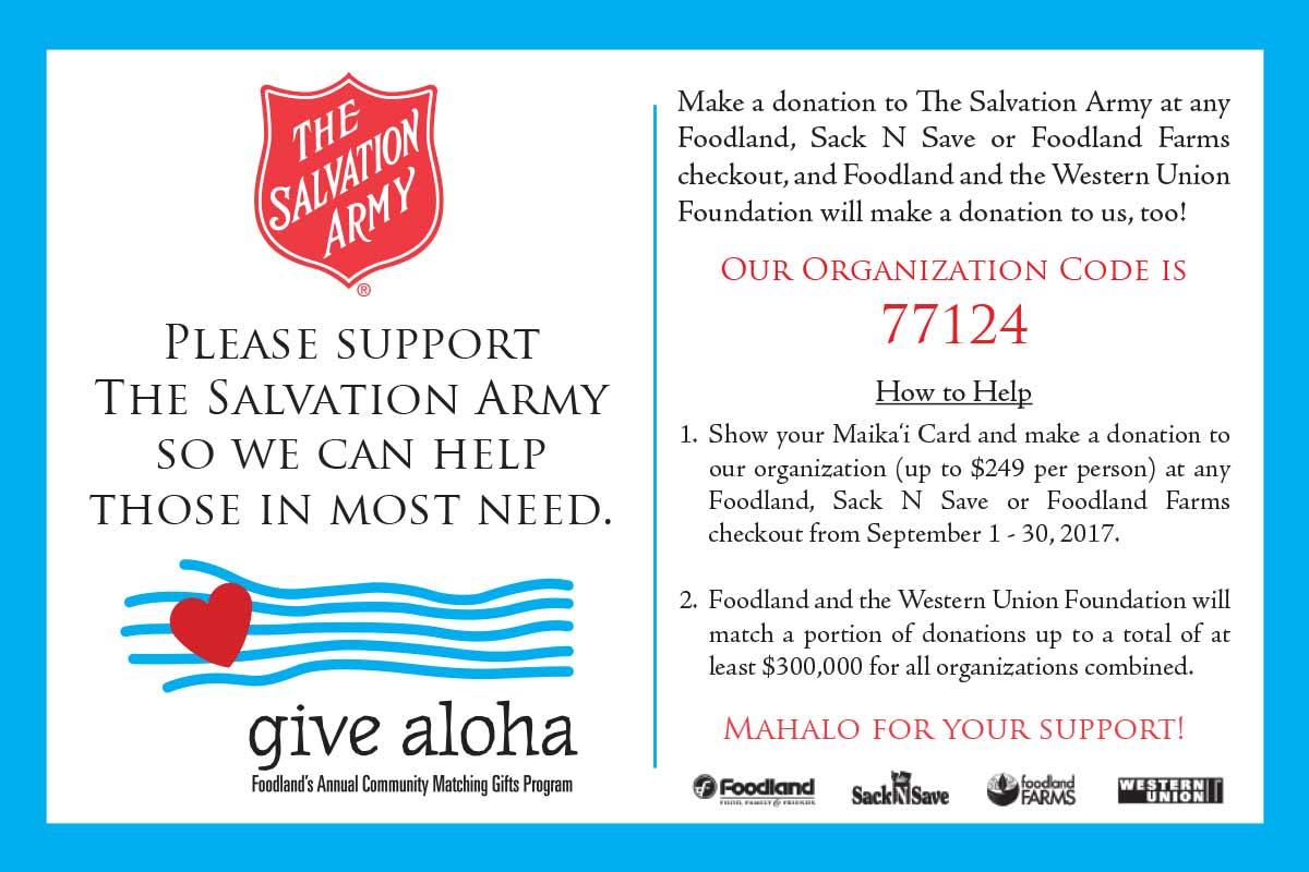 Foodland Give Aloha Salvation Army Postcard