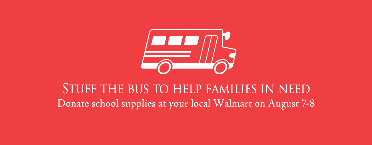 stuff the bus school supply collection at walmart august 7 to august 9