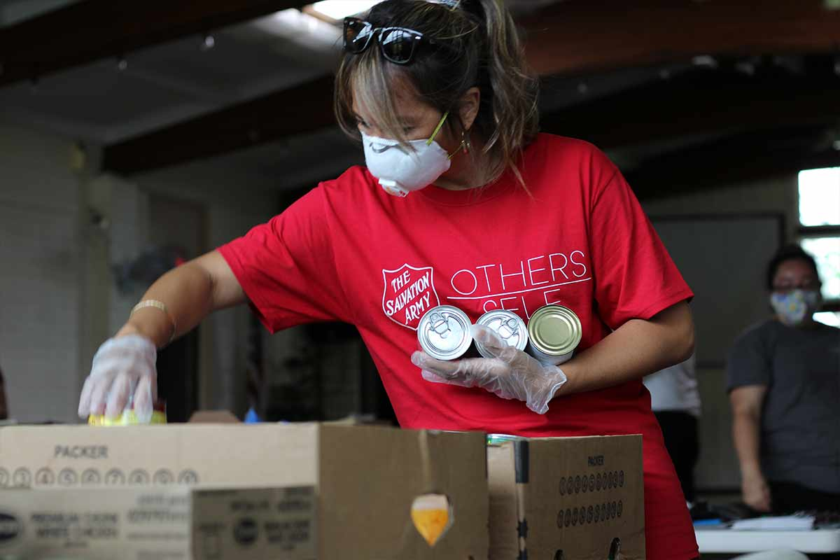 staff preparing food box covid19 relief operations