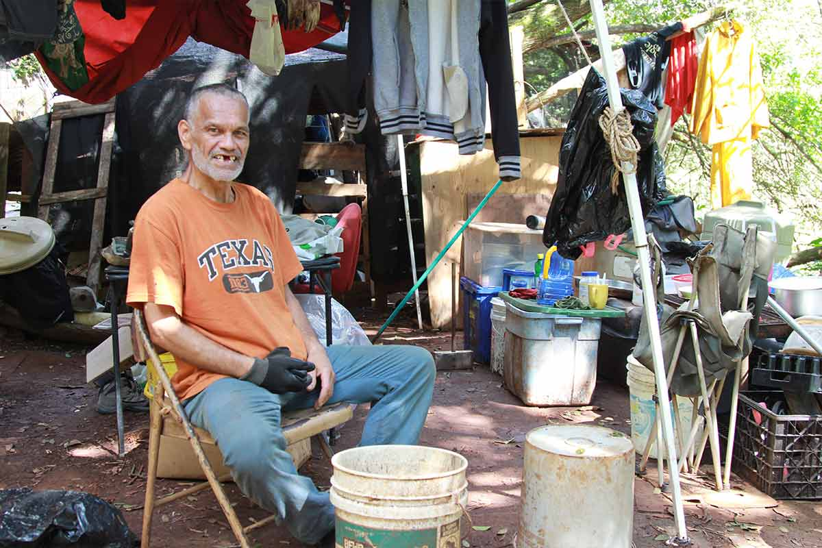 Man at Wahiawa encampment