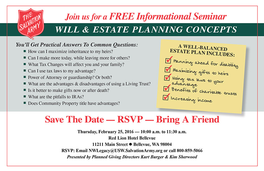 Will & Estate Planning Seminar in Bellevue, WA - The Salvation Army - February 2016