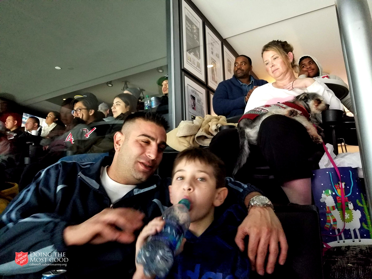 Families Watching the L.A. Kings play the Carolina Hurricanes
