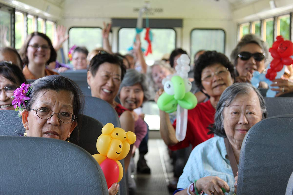 Salvation Army kupuna campers in bus